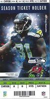 2013 NFL BUCCANEERS @ SEAHAWKS FULL UNUSED FOOTBALL TICKET STUB - RUSSELL WILSON