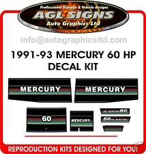 1991 1992 1993 MERCURY 60 hp Outboard Decal Set  reproductions 50 hp also