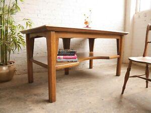Vtg 50s 60s Mid Century Solid Oak Church Alter Gothic Oak Table Workbench Desk