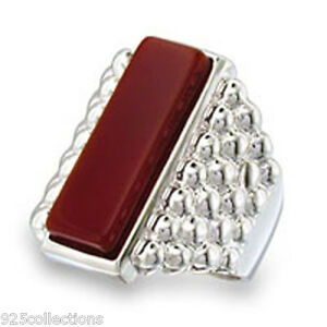 22x7 mm Siam Semi-Precious Agate Stone Bar Rhodium Men Ring Jewelry Size 13