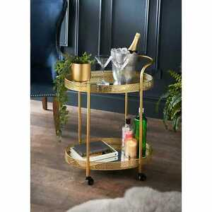 NEW DECO GLAMOUR MIRRORED GLASS SHELVES DRINK COFFEE TEA METAL TROLLEY GOLD NEW