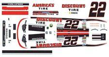 #22 Jacques Villeneuve Discount Tire 1/64th Scale Slot Car Waterslide Decals