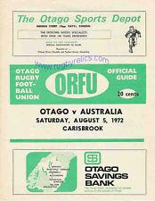More details for otago v australia 5 aug 1972 dunedin rugby programme