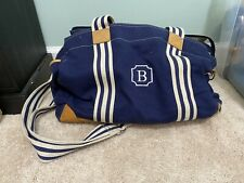 "Pottery Barn Kids Navy Large Diaper Bag Canvas Leather trim. Monogram ""B�"