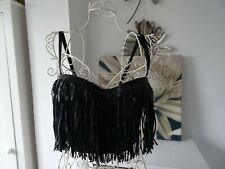 Festival Graffith faux leather bustier fringed crop top size medium