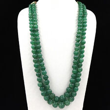 NATURAL GREEN QUARTZ BEADS MELON CARVED 2 LINE 1020CTS GEMSTONE LADIES NECKLACE