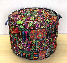 Vintage Ottoman Pouf Cover Indian Black Patchwork Pouffe Stool Home Decorative