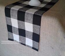Black Buffalo Check Plaid Table Runner Farmhouse Country Kitchen Decor Linens