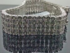 WhiteGold Wrapped 4R Men Diamond Bracelet 1.09CT $569.99/9 Inch Long trippleLock