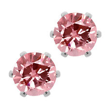 3.00 Ct Cubic Zirconia CZ Round Post with friction back Stud Earrings 6MM