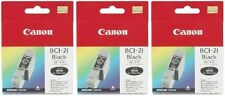 3 x Canon Genuine/Original BCI-21Bk Black Printer Ink Cartridges 21 Bk BJC-4000