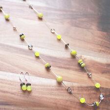 Green Peridot & Black Smokey Quartz Long Silver Chain Necklace with Earrings