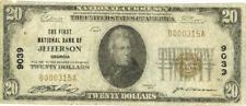 GA $20 Dollars First National Bank Jefferson Currency Banknote 1929