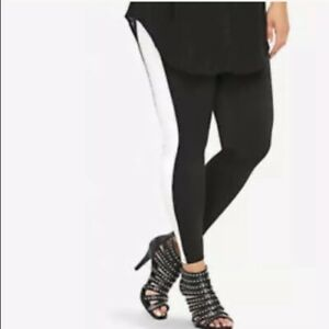 Nw DEFECT TORRID plus size stretch leggings Striped pant yoga black white 0X 1X