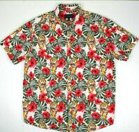 Vintage Tiger Print Hawaiian Shirt L/XL 80s Tiger Hawaii Cobain Aloha Grunge