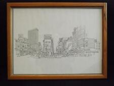 Richard Welling 1978 Times Square Framed Line Drawing Art 26x20 Embossed Seal
