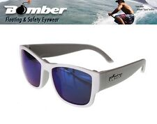 Bomber Floating GOMER Sunglasses Gloss White w/ Blue Mirror Lens Mens Designer