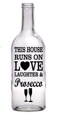 Wine Bottle Vinyl Decal Sticker Love Laughter Prosecco Wine Light Garden Gift