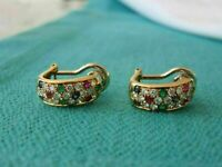 1.35Ct Diamond-Sapphire-Emerald-Ruby 7 Mm Wide Earrings 14K Yellow Gold Over