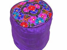 """Purple Round Pouf Footstool Cover Floral Embroidered Ottoman Slipcover 16"""""""