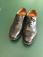 Mens Quality Black Leather Brogues Kilt Shoes Size 10 Made In England