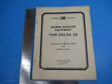 Vintage Mobile Receiver Equipment Type 205 Ed. 3A Installation Instructions L506
