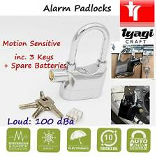 Alarm Padlock Silver Motion Sensitive Loud Anti-Ice Spray Motorcycle Bike Lock