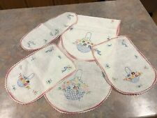 Vintage set of 4 embroidered table runners