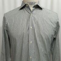 BURBERRY MENS GRAY WHITE STRIPED BUTTON FRONT COTTON DRESS SHIRT SIZE 15.5 /39