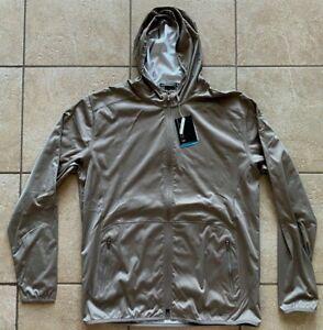 NIKE GOLF Tiger Woods Dri-FIT Wind Resistant Hoodie Jacket-Brown-Large-RARE!-NWT