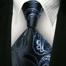 1x Classic Striped WOVEN JACQUARD Silk Men's Suits Tie Necktie Blue Flower M072