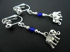 A PAIR TIBETAN SILVER DANGLY ELEPHANT & BLUE CRYSTAL  CLIP ON EARRINGS. NEW.