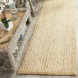 Rug 100% Natural Jute Braided Style Reversible Runner Rug Area Carpet Rag Rug
