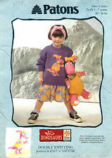 ~ PATONS Knitting Pattern FOR CHILD'S Mignon Dinosaure Pull & Toy ~ 1 ~ 7 ans