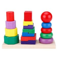 Children Baby Toys Kids Building Blocks Geometric Stacker Toddler Wooden To D5U1
