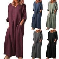 Womens Long Sleeve Cotton Linen Kaftan Maxi Dress Holiday Casual Loose Dress Top