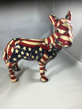 RARE Red White and Blue Stars and Stripes Mule Figurine ~ USA Flag Patchwork