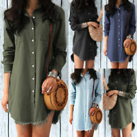 Women Lady Long Sleeve Casual Denim Blouse Loose Tops T-shirt Party Mini Dress