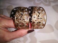 Vintage 90'S Gold Coloured Plastic Swirly Hoop Earrings Vgc