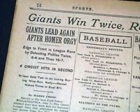 HACK WILSON Hits 2 Home Runs in 1 Inning & Babe Ruth Yankees 1925 NYC Newspaper