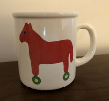 Vintage Marimekko by Pfaltzgraff USA Red Toy Horse  Wheels Mug Coffee Cup