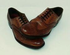 Grenson Dylan Men's Brogues Dress Shoes Tan Calf Leather Size 8F (OVER $300 NEW)