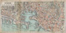 GENOA GENOVA vintage town city map plan pianta della città. Italy 1958 old