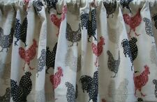 Valance Farmhouse Chickens Roosters Red Black Gray Natural Custom Made Window