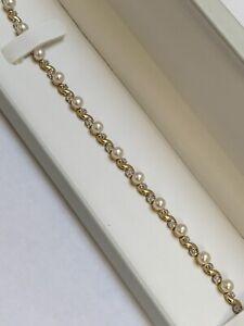 AJ 10K Solid Yellow Gold Pearl and Diamond Tennis Bracelet