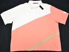 Sean John Polo Shirt Men 6XB 6X 6XL Diagonal Pieced Polo Cream Orange Urban N938