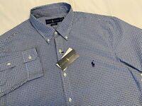 NWT $89 POLO Ralph Lauren Men Mesh Shirt Pony Slim Fit Cotton Blue Black XL