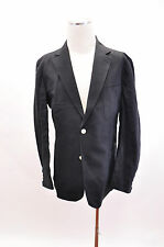 "NWT $895 Duchamp ""Tailored Fit"" 100% Linen Black Sport Coat Blazer Size 46R US"
