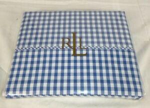 NEW Ralph Lauren Belle Harbor Blue Gingham QUEEN Flat Sheet 100% Cotton