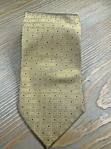 CHAS REED & CO. MUSTARD/BLUE DOTS NECKTIE FREE SHIPPING A3